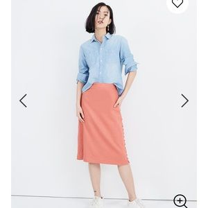 Madewell Side Slit Button Skirt